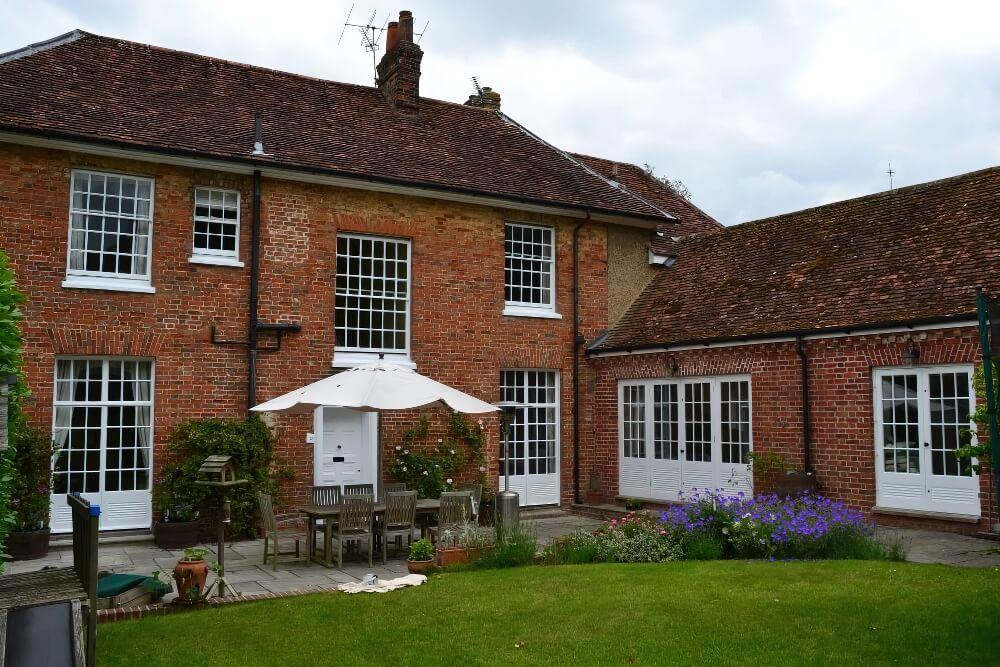 Redecorating large sash windows in Barley, Hertfordshire