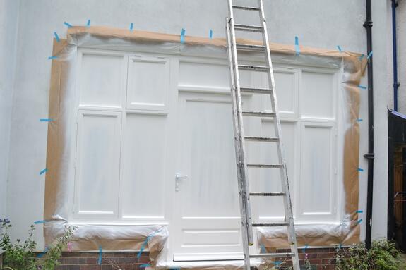 door and set of windows painting