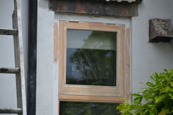 sanded timber window