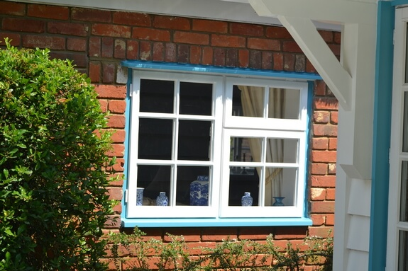 Cottage window blue lines