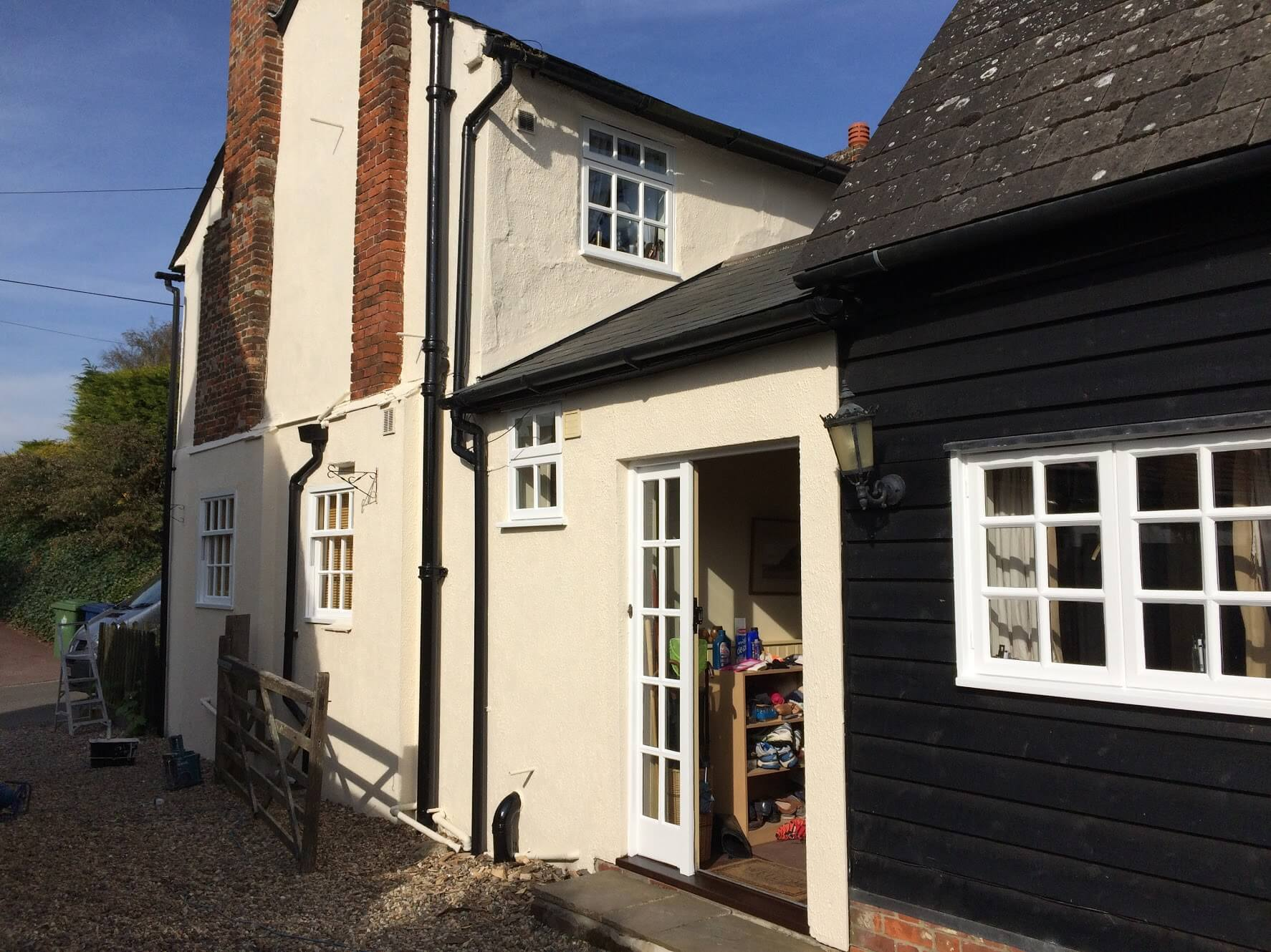 Renovation of decayed timber windows and repairs of masonry walls in a listed property in Great Chishill, Cambridge