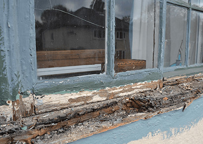 Cracked glass pane