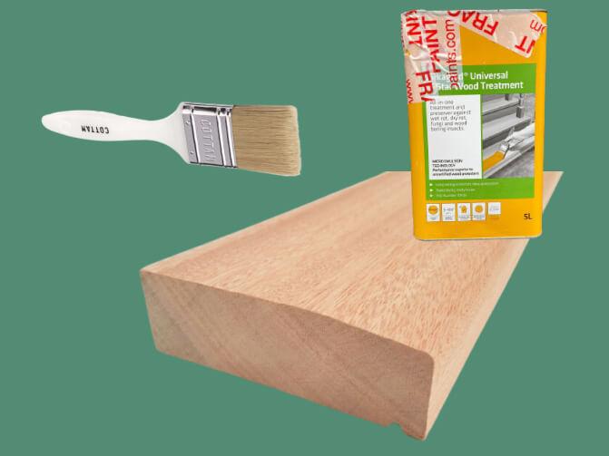 Apply wood preservative to the door threshold