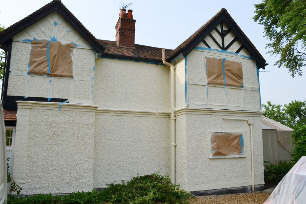 sprayed masonry paint