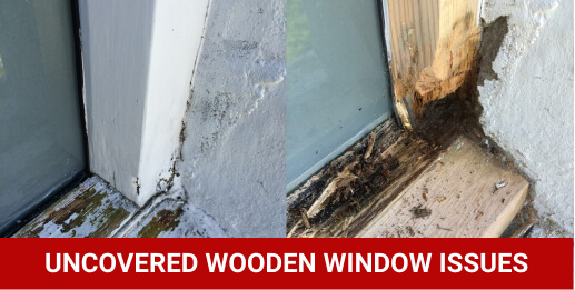 uncovered wooden window issues