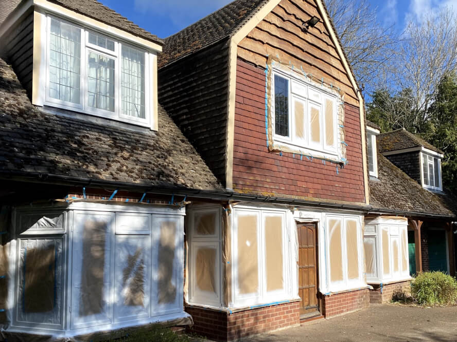 timber frame painting