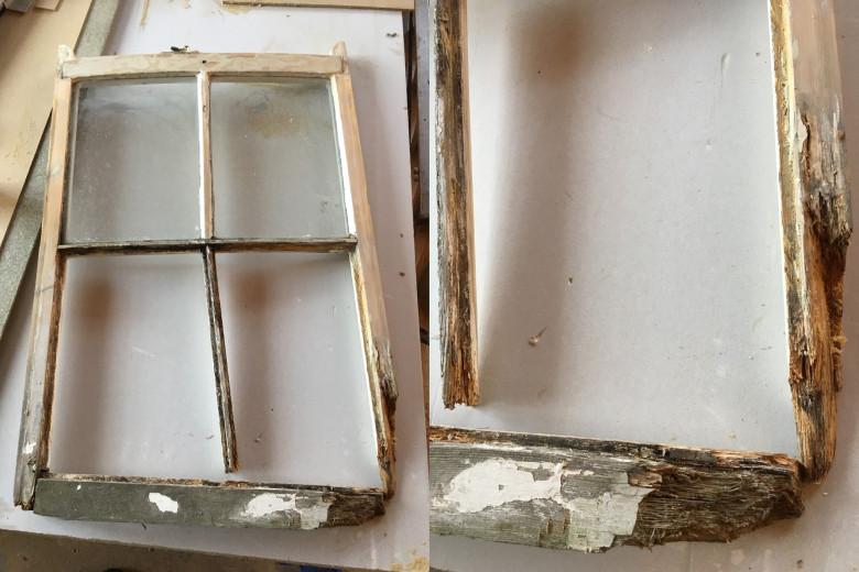 Rotten wooden window frames