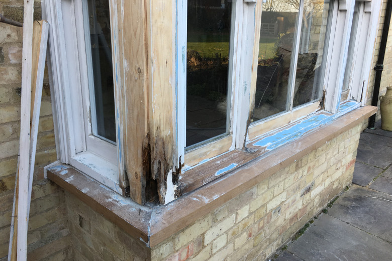Bay window frame repair and re-decoration | before