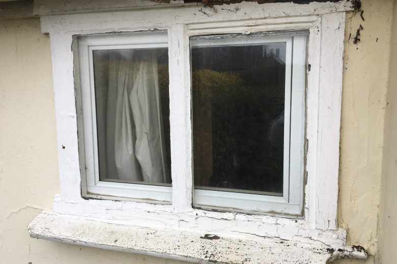 Old cottage window repair and painting | before
