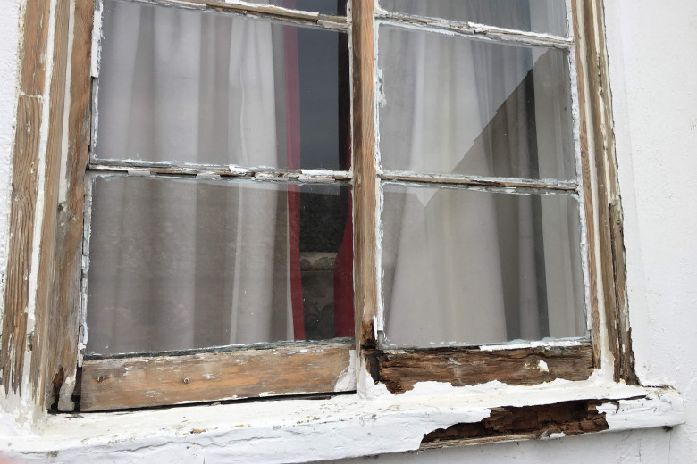 Old sliding cottage window repair. | before