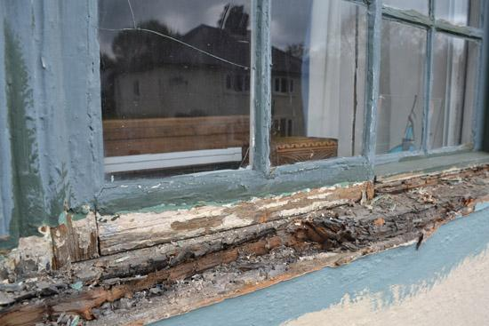 Wooden window sill replacement | before