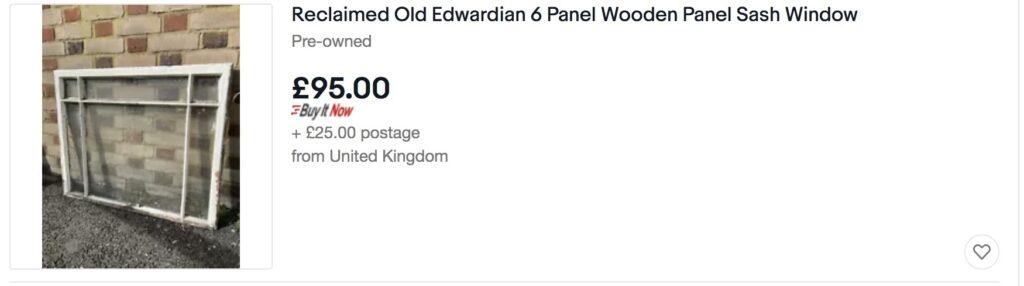 Old Edwardian 6 pannel wooden sash