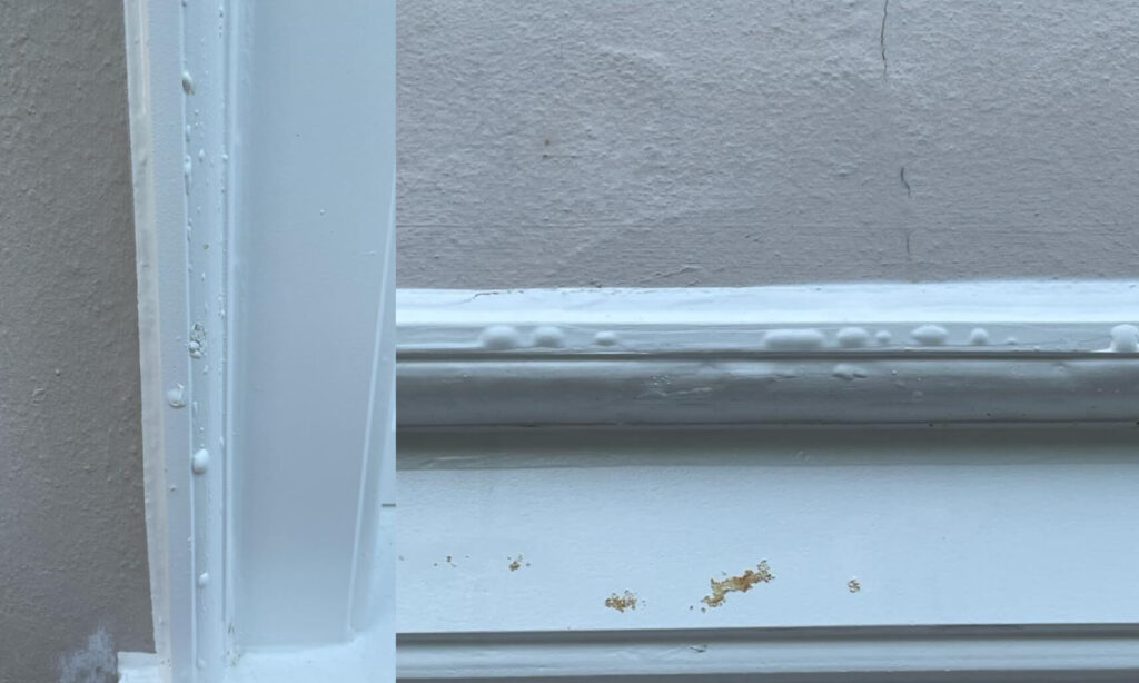 bubbling paint on windows